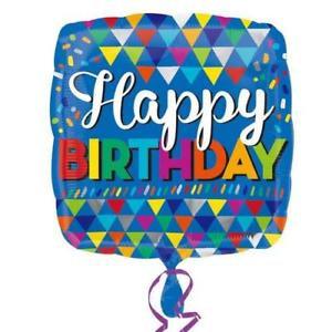 "17"" Blue Happy Birthday Foil Balloon & Latex Cluster"