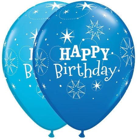 "11"" Happy Birthday Blue Helium Balloon"