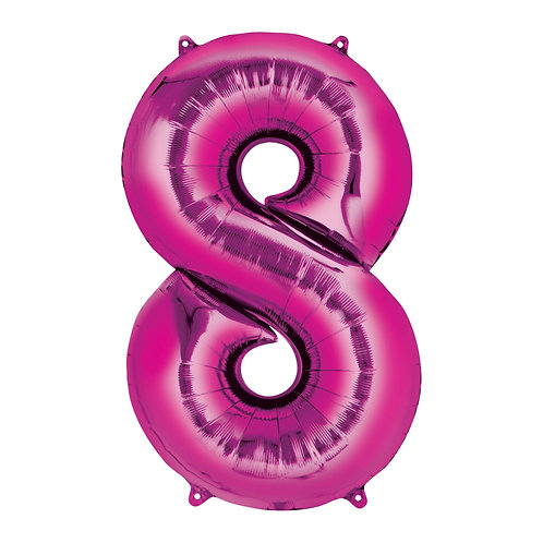 "Number ""8"" Pink Helium Balloon"