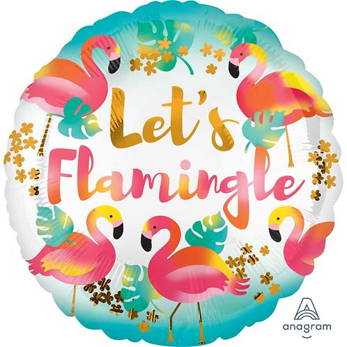 """17"""" Lets Flamingle Foil Balloon"""