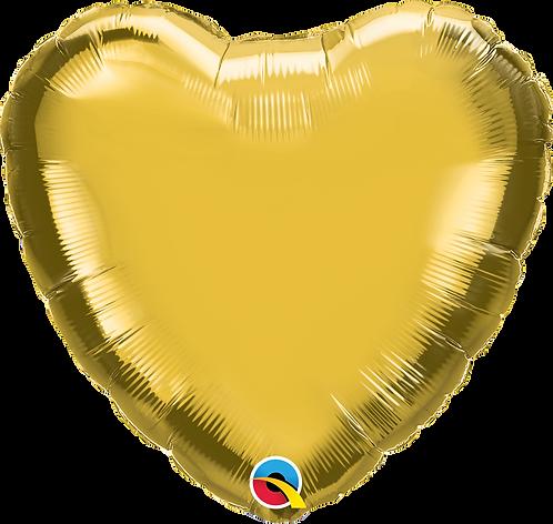 """18"""" Metallic Gold Heart Foil"""