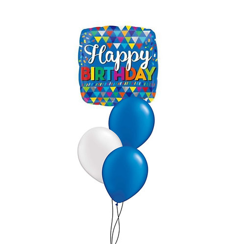 Blue Happy Birthday Foil Balloon & Latex Cluster