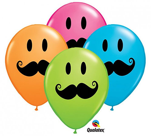 "11"" Smile Face Moustache Helium Balloon"