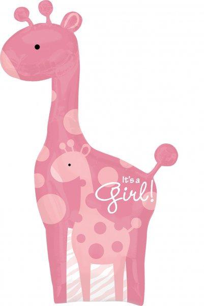 """42"""" It's a Girl Giraffe Foil Balloon"""