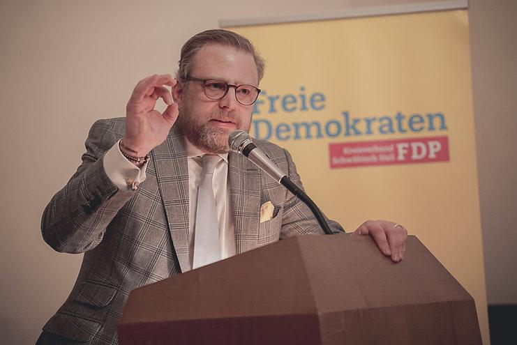 Karl Graf Stauffenberg bei einer Veranstaltung der FDP Schwäbisch Hall