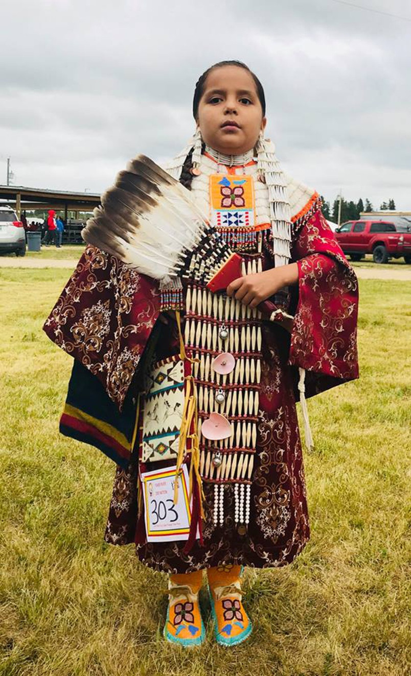 """Seven year old Molly Taylor won the Junior Girls Traditional Dance category in Bismark, North Dakota, in September. The United Tribes Powwow is a three-day contest held every fall in Bismarck. Dancers of all ages from all over the US and Canada attend. According to the website, it's one of the biggest powwows """"on the Great Plains powwow circuit."""""""