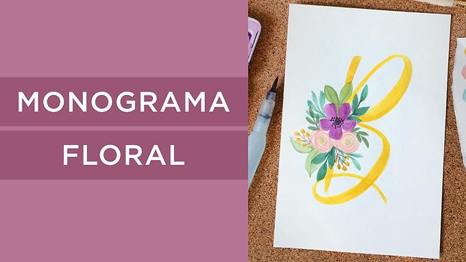 Monograma Floral con Acuarela