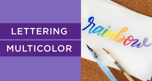 Lettering Multicolor con Acuarelas Escolares