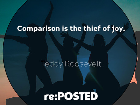 Comparison is the thief of joy. - Teddy Roosevelt