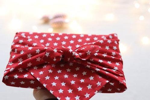White stars on red furoshiki cotton gift wrap