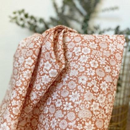 Linen + Cotton Cinnamon Flowers reusable fabric gift wrap