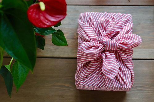 Red and white striped furoshiki linen & cotton gift wrap