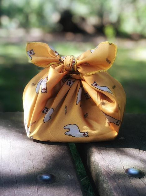 'Yellow alpaca' - reusable fabric furoshiki gift wrap/ scarf