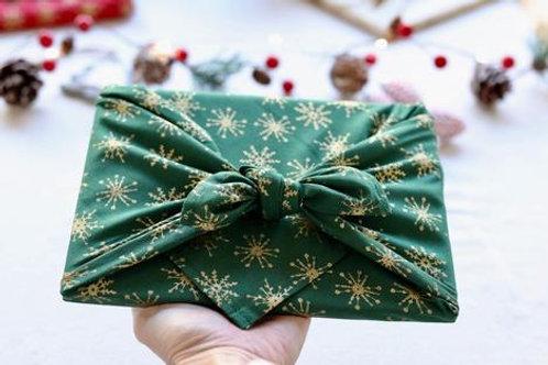 Gold stars on green backdrop reusable gift wrap - furoshiki