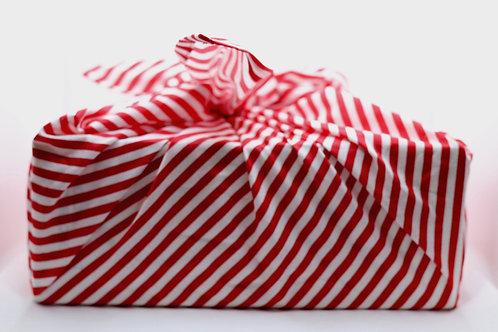 Red and white striped furoshiki cotton gift wrap