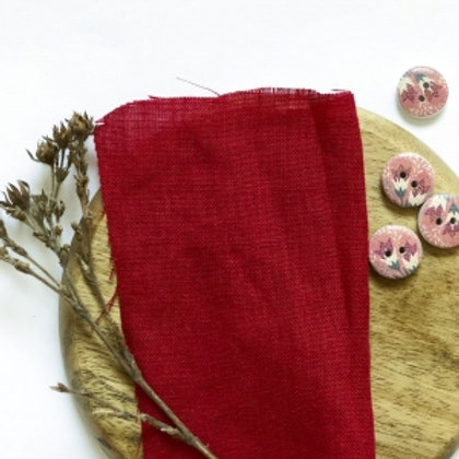100% Linen red reusable fabric gift wrap