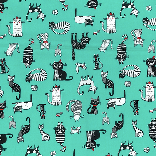 Minty Cats Rose & Hubble reusable fabric gift wrap/scarf