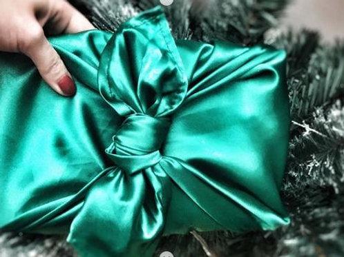 Green satin - reusable fabric furoshiki gift wrap