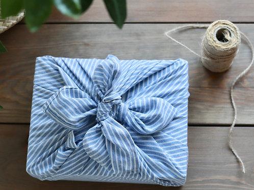 Blue and white striped furoshiki linen & cotton gift wrap