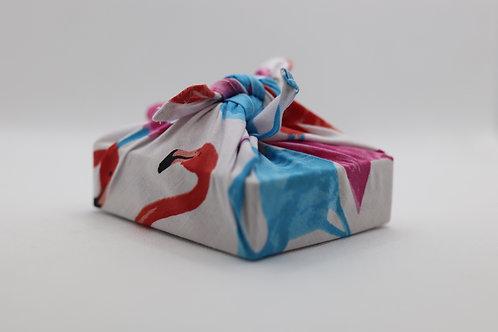 Pink flamingo rose & hubble reusable gift wrap - furoshiki