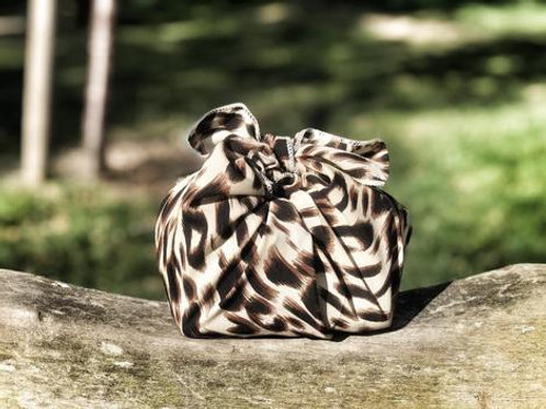 Silky satin leopard print - reusable fabric furoshiki gift wrap/ scarf