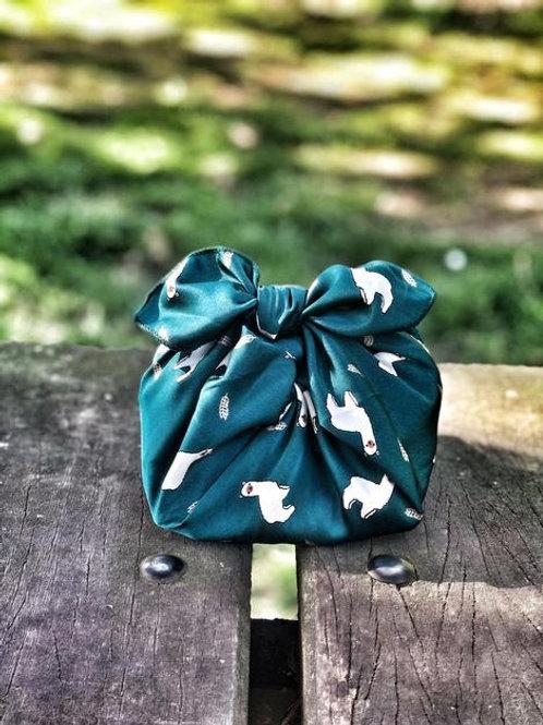 ¨Green alpaca¨ - reusable fabric furoshiki gift wrap/ scarf
