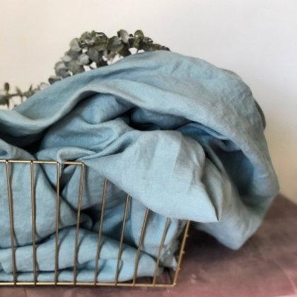 100% Linen Baby Blue reusable fabric gift wrap