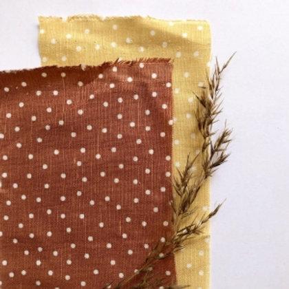 Linen + Cotton Copper or Mustard Dots reusable fabric gift wrap