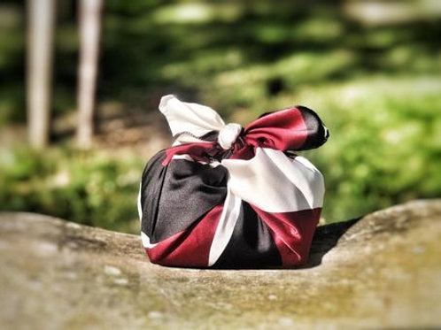 Patterned silky satin red-white-black abstract - reusable fabric furoshiki gift