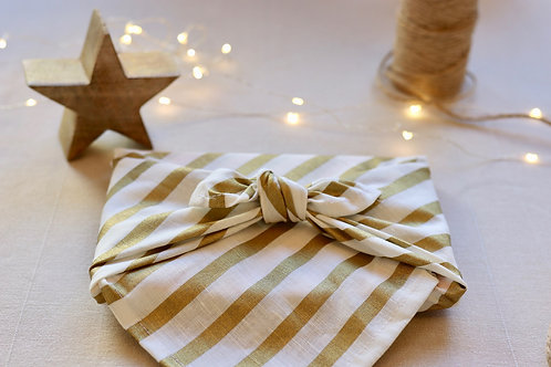 Gold stripes on white - reusable linen & cotton furoshiki gift wrap