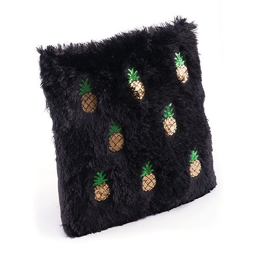 Black And Gold Pineapple Cozy Pillow