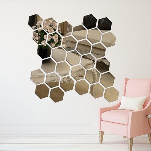 3D Hexagon Acrylic Mirror Wall