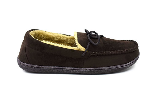 Men's Bow Faux Fur Lined Slippers Brown