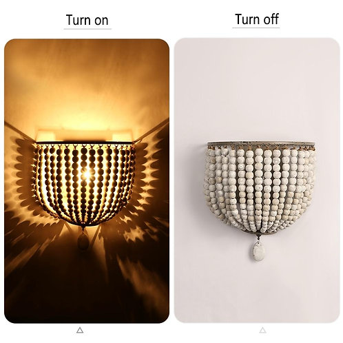 retro wooden beads wall LED