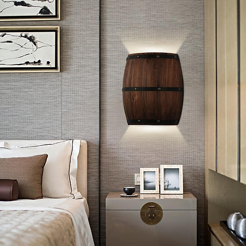 American vintage wall lamps country wine barrel modern wall lights LED