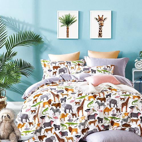 Kids Animal Prints 100% Cotton Reversible Comforter Set