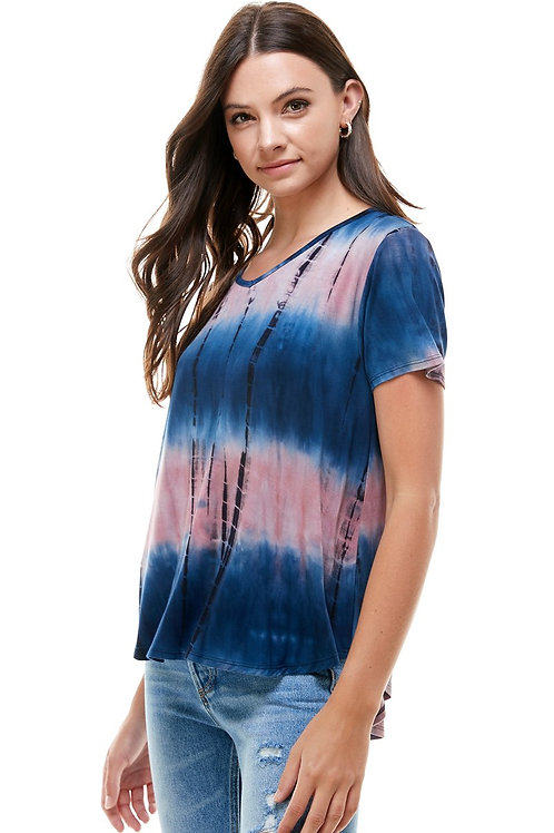 WOMEN TIE DYE V NECK LOOSE FIT TOP