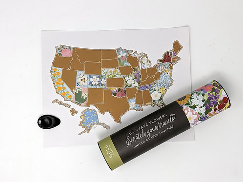 Desk Size US State Flowers Scratch Your Travels Map