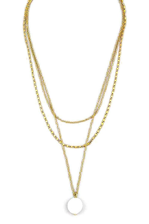 3 Layer Pearl Stone Pendant Necklace