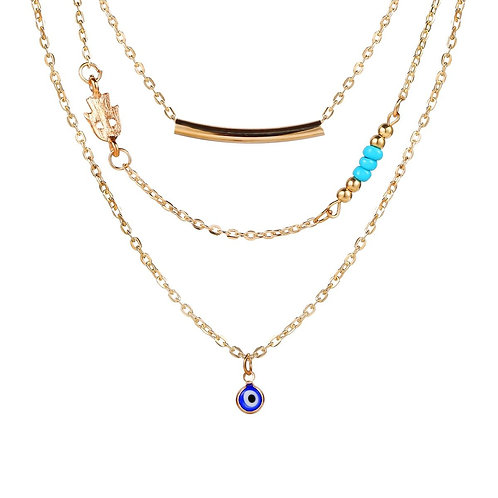 3 Piece Turquoise Evil Eye Necklace 18K Gold Plated Necklace in 18K