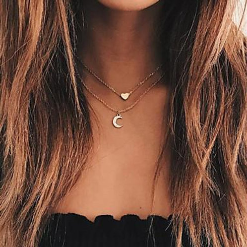 Moon and Heart Two Layer Necklace