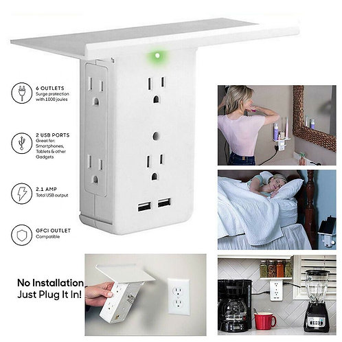 8 Port Shelf Socket Surge Protector Wall Outlet