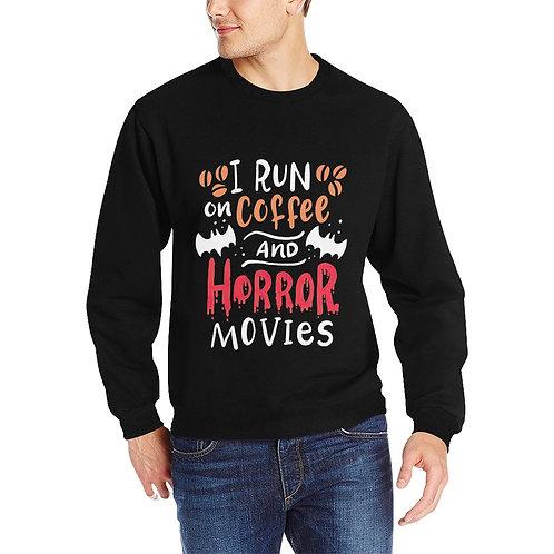 I Run On Coffee And Horror Movie Crewneck Sweatshirt