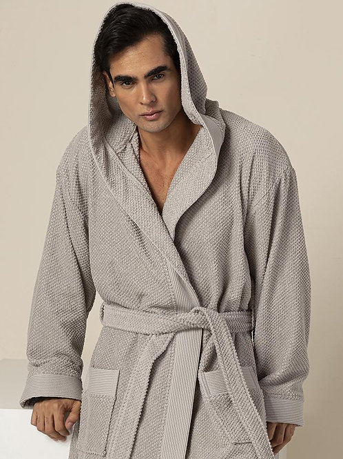 Men's Gray Turkish Cotton Loose Cut Terry Bathrobe