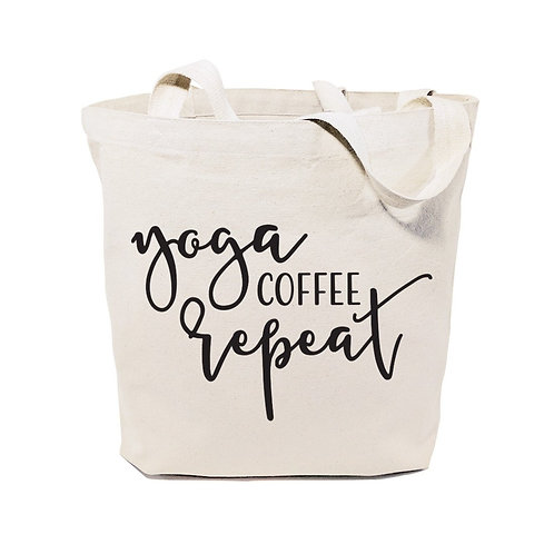 Yoga Coffee and Repeat Gym Cotton Tote Bag