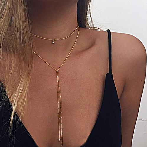 Double Lariat Choker Necklace
