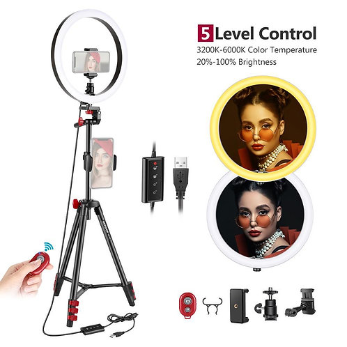 LED Ring Light with Tripod,3 Modes