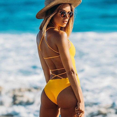 Backless bikini yellow Multi Rope Brazilian One Piece