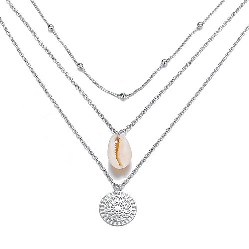Bohemian and Shell 3 Piece Layer 18K Gold Plated Necklace in 18K Gold