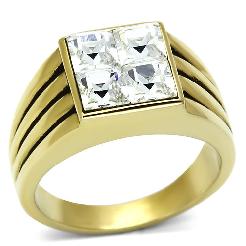 Men Stainless Steel Synthetic Crystal